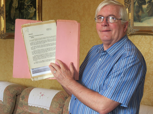 Fr Eamon Aylward, nephew of Maurice Aylward with some of the papers of his late uncle