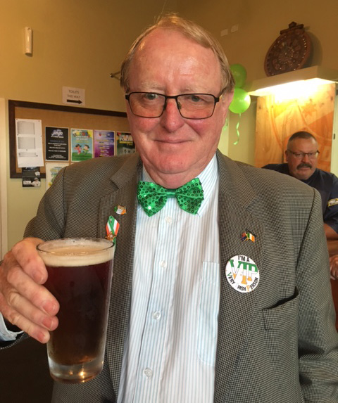 Peter Burke, the author, celebrating St Patricks day in Auckland