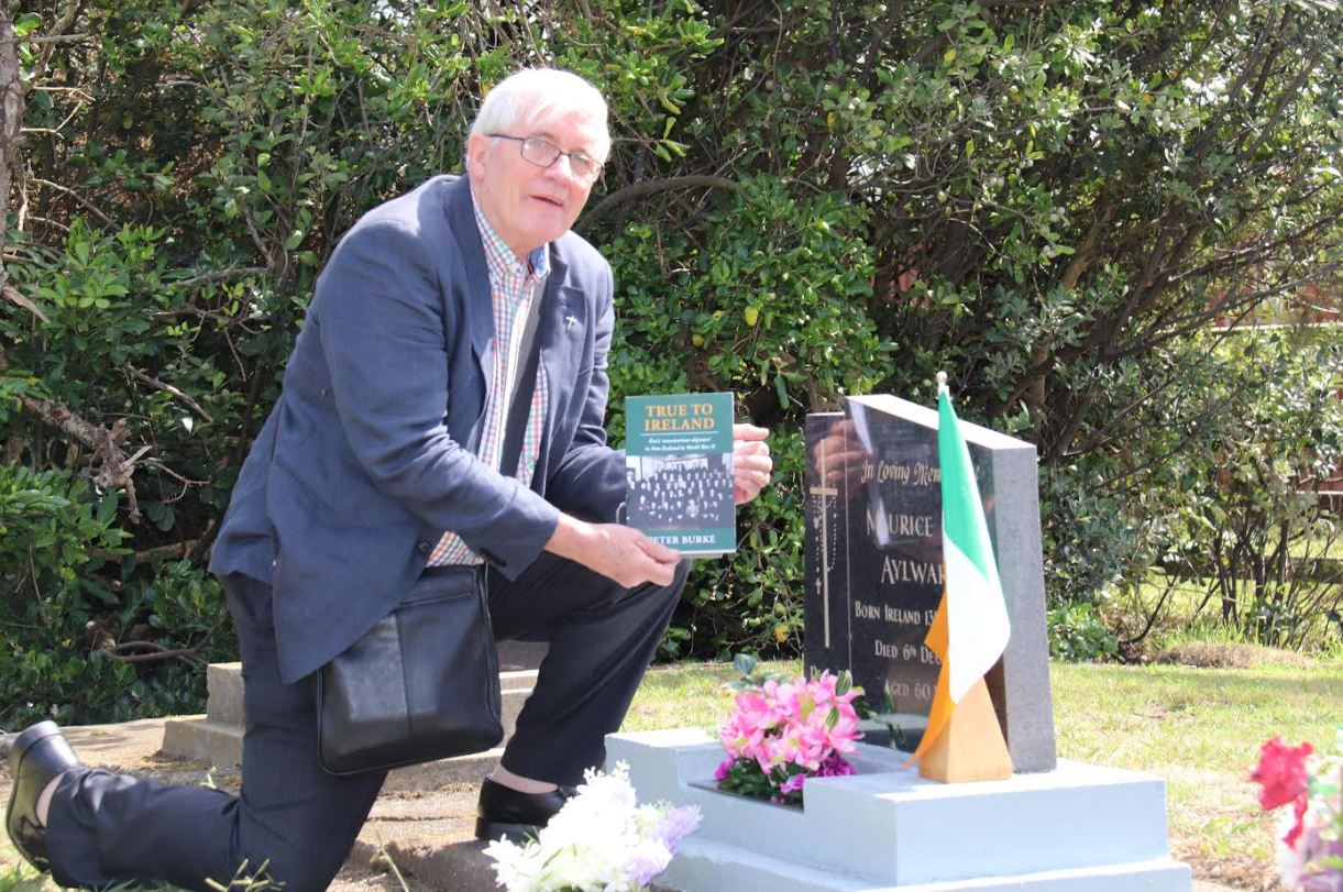 Fr Eamon at the grave of his uncle Maurice at Opunake